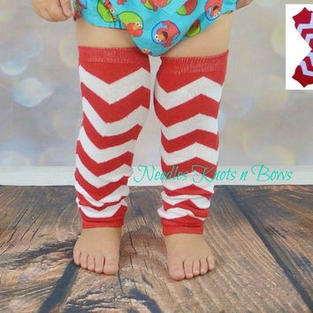 Red Chevron Legwarmers, Boys, Girls, Newborns, Infants, Toddlers, Crawlers, Crib Socks
