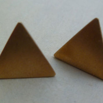 Triangle stud earrings by littlepancakes on Etsy