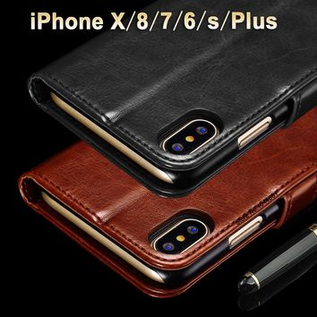Case for iPhone X case Crazy horse leather cover for iPhone 8 Plus case Luxucy Coque for iPhone8/7 Plus/X/6 S Plus/6s