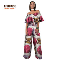 2017 AFRIPRIDE private custom african clothing suit set for woman short sleeve top+long pants summer clothes for work  A722617