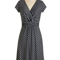 ModCloth Mid-length Short Sleeves A-line Casual Decorum Dress in Black Stripes