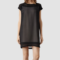 Womens Myrthe Dress (Oyster/Black) | ALLSAINTS.com