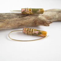 Pink gold green dangle paper earrings wrapped on 14K gold filled wire / bridesmaid wedding earrings / first anniversary gifts for her