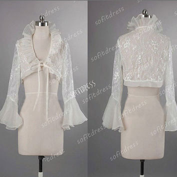 lace wedding jackets, bridal jackets, ivory wedding jacket, ivory bridal jacket, cheap wedding jacket, long sleeve bridal jacket, JC024