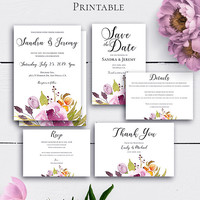 Bohemian Wedding Invitation Suite, Marsala Invitation, Printable Watercolor Marsala Burgundy Invitation, Save the Date, Response Card