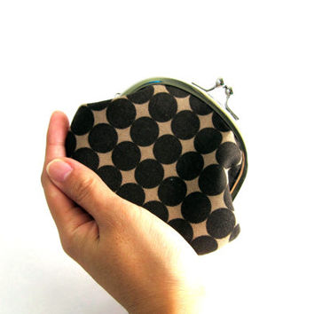 Frame Coin Purse- brown dots