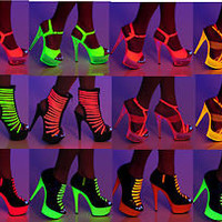 "The Highest Heel GLOW-101 111 121 131 Sexy 6"" Platform With Neon UV Pumps"