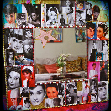 Audrey Hepburn Collage Wall Mirror - vintage decoupage  - bevel mirror