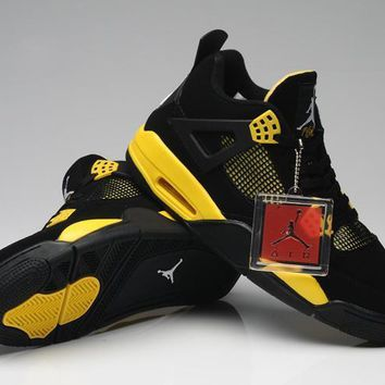 Nike Air Jordan Retro 4 IV Black Yellow AJ4 Discount Men Women Sports Basketball Shoes