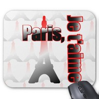 Je t'aime Paris with the Eiffel tower Mouse Pad