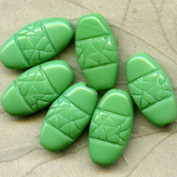 Six Vintage Green Pressed Glass Beads W German by picklevalentine