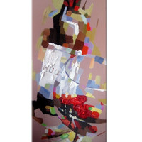 A Glass and Bottle of Wine Oil Painting on Canvas - 100% Hand Made - Ready to Hang - Crafted by Talented Artist