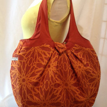 Extra Large Tote/Purse/Carryall - Orange/Rust Brocade -- Pockets Galore -- Great for Commuters, Moms or the Gym