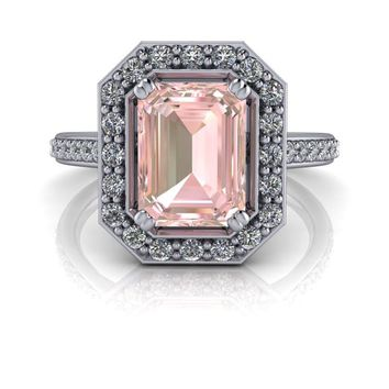 Emerald Cut Morganite Diamond Halo Engagement Ring 1.76 ctw