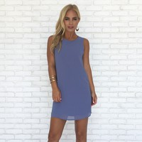Simple Kind of Love Shift Dress in Dusty Blue