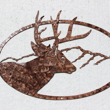 Buck Deer Head Mountain Scene Oval Metal Wall Art