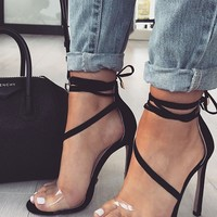Transparent Strappy Fashion Women High Heels Shoes