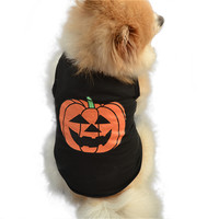 Zero Pet Dog Halloween Festivals Pumpkin Cotton Black Vest T-shirt Clothes