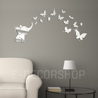 Large Acrylic Decorative Wall Mirror  Elephant Shaped and Butterfly for Baby and Nursery Room Decoration