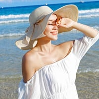 HOT Style summer large brim straw hat adult women girls fashion sun hat uv protect big bow summer beach hat