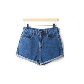 Summer High Waist Stretch Denim Shorts Slim Jeans Feminino Women's Crochet Hook Jeans Plus Size