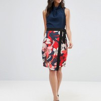 Closet Floral Contrast Waist Band Wrap Skirt Dress at asos.com