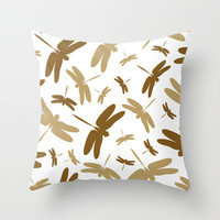 Dragonfly Pattern Throw Pillow by markmurphycreative