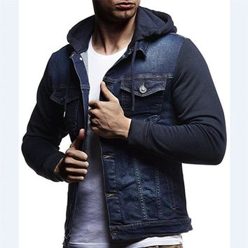 Trendy 2018 New arrival Patchwork Denim Jackets Men Outerwear Fashion Casual Hooded Jacket Cotton elasticity Slim Fit Coats Large AT_94_13