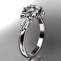 AMAZING FLOWER 1.70C WHITE ROUND 925 STERLING SILVER ENGAGEMENT AND WEDDING RING