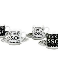 Konitz Espresso Writing Cups and Saucers, 3-Ounce, Black/White, Set of 4