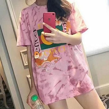 Gucci Trending Women Men Casual New Embroidery Carp Meat Pink Tie-Dye Cotton T-Shirt Top