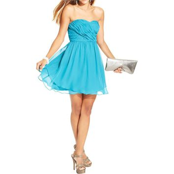 Hailey Logan by Adrianna Papell Womens Juniors Chiffon Pleated Cocktail Dress