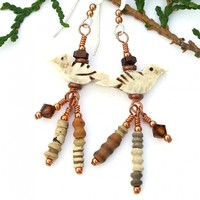 Fetish Bone Bird Earrings, Mali Clay Beads Swarovski Crystals Rustic Handmade Jewelry for Women