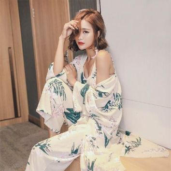 Fashion Pajamas Thin Section Sexy Pajamas Silk Long Sleeves Loose Sets