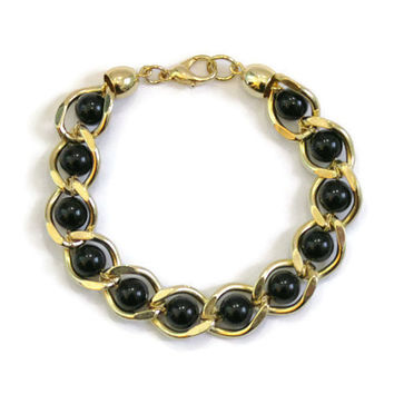 Vintage Link Bracelet With Black Beads In Gold Tone 1980's Bracelet Black Bead Bracelet