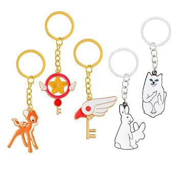 1 pc Gold Tone Cartoon Cat, Fawn/Deer, Middle Finger,  Rabbit Keychain