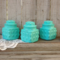 Canister Set, Spice Jars, Tea Jars, Shabby Chic, Tiffany Blue, Pressed Glass, Painted, Distressed