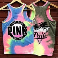 PINK Victoria's Secret Gradient Color Coconut Tree Print Vest Tank Top Cami
