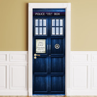 Door / Wall / Fridge Sticker - Tardis. Peel & Stick Removable Decole, Mural, Skin, Cover, Wrap, Decal, Poster