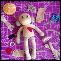 Sock Monkey Plush D.I.Y. Kit No. 904 - No Sewing Machine Needed