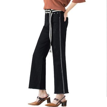 Plus Size Side Stripe Black Capris Jeans Belt Free 6XL 7XL Oversized Wide Leg Tassel Fringe Ankle Length Denim Pants
