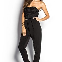 Jessie Black Crochet Lace Strapless Harem Jumpsuit with Pockets