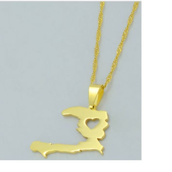 HAITI MAP WITH HEART PENDANT AND NECKLACE