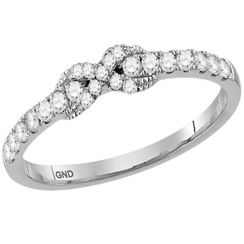 10kt White Gold Womens Round Diamond Infinity Knot Stackable Band Ring 1/4 Cttw