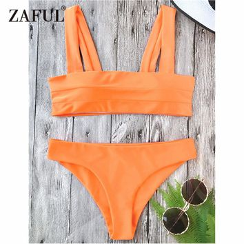 Bikini Wide Straps Padded Bikini Set Square Neck Pullover Top and Bottoms Women Swimsuit