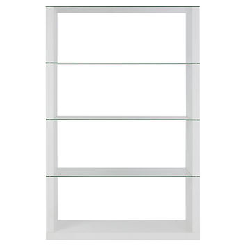 Lennox Shelving Unit, White/Glass, Bookcases & Bookshelves