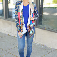 Printed Asymmetrical Loose Knit Cardigan
