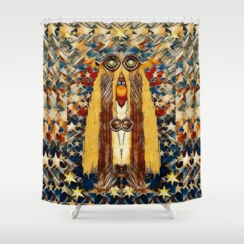 Lady Panda goes into the starry gothic night Shower Curtain by Pepita Selles
