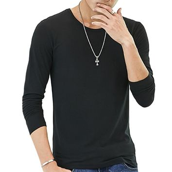 Hot New Summer Men's Long Sleeve T Shirt Solid Color tshirt Men Slim Fitness Causal T-shirt Male Tops Brand Clothing 3XL Blusas