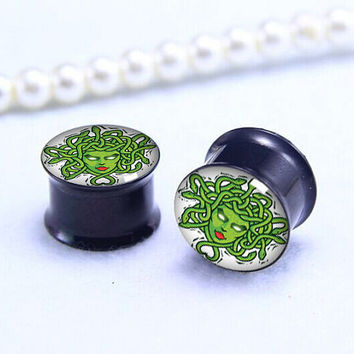 Beheaded Medusa  ear Plug  ,pricing body jewerly , Screw on Gauge ear plugs , Black Titanium ear plugs ,